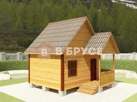 фото домика с мансардой из калиброванного бруса