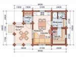 планировка одноэтажной бани из бревна 8,5 на 5,5