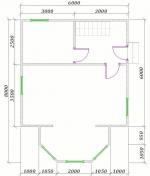 план 1 этажа 6х8
