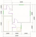 планировка одноэтажной бани из бруса 6х6