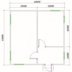 план одноэтажного дома 6х6