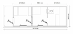 планировка перевозная баня из бруса 2.3х7м №1204