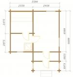 планировка одноэтажной бани 5,5 на 6,6