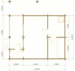 планировка бани в 1 этаж из бревна