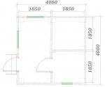 план одноэтажной бани 4 на 4