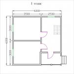 план недорогого дома 6х6 из бруса