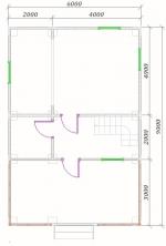 план 1 этажа 6х9