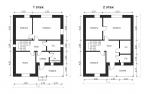 план двух этажей дома с террасой