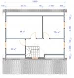 план второго этажа в брусовом доме с просторной террасой