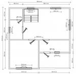 план брусового дома под крышу - 1 этаж