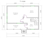 планировка первого этажа брусового дома 6х8