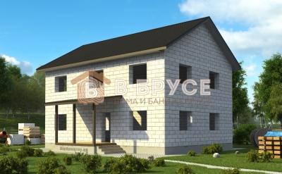 двухэтажный дом с двухскатной крышей