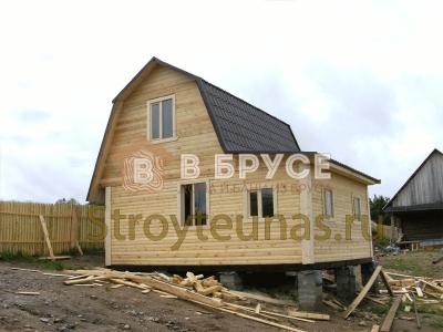 проект двухэтажного деревянного дома из бруса с верандой