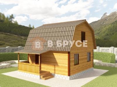 проект простого мансардного дома из бруса