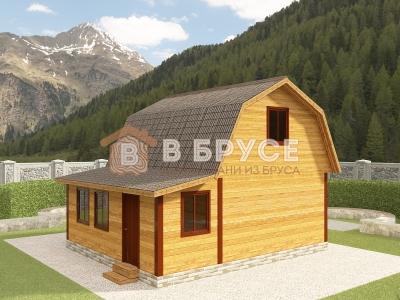 дом с мансардой и верандой 7х6